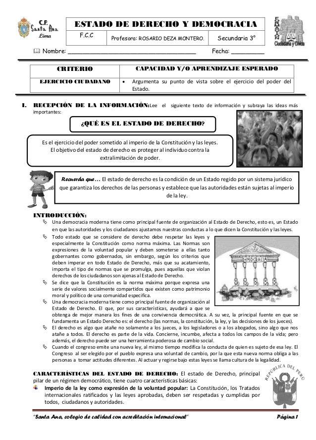 ESTADO DE DERECHO Y DEMOCRACIA  F.C.C Profesora: ROSARIO DEZA MONTERO. Secundaria 3°  Lima   Nombre: ____________________...
