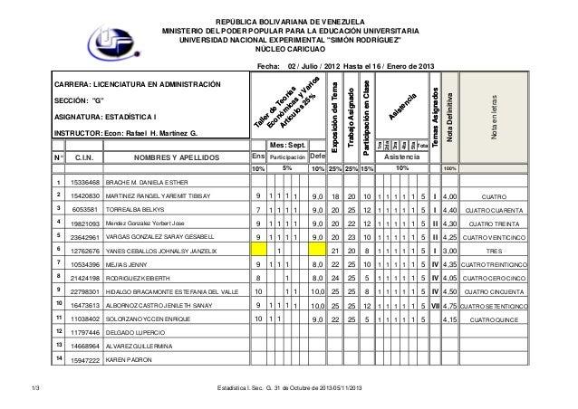 Estadística i. sec.  g. 31 de octubre de 2013