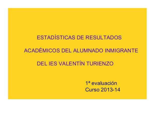 ESTADÍSTICAS DE RESULTADOS ACADÉMICOS DEL ALUMNADO INMIGRANTE DEL IES VALENTÍN TURIENZO  1ª evaluación Curso 2013-14