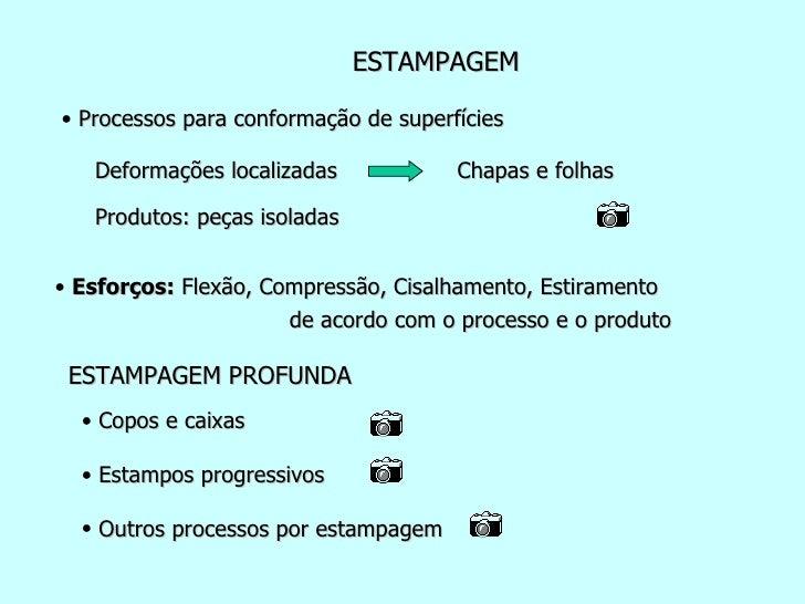 ESTAMPAGEM <ul><li>Processos para conformação de superfícies </li></ul>Deformações localizadas   Chapas e folhas   de acor...
