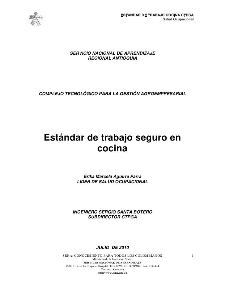 ESTANDAR DE TRABAJO COCINA CTPGA                                                                        Salud Ocupacional ...