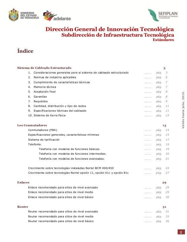 Dirección General de Innovación Tecnológica Subdirección de Infraestructura Tecnológica Estándares  Índice  Sistema de Cab...