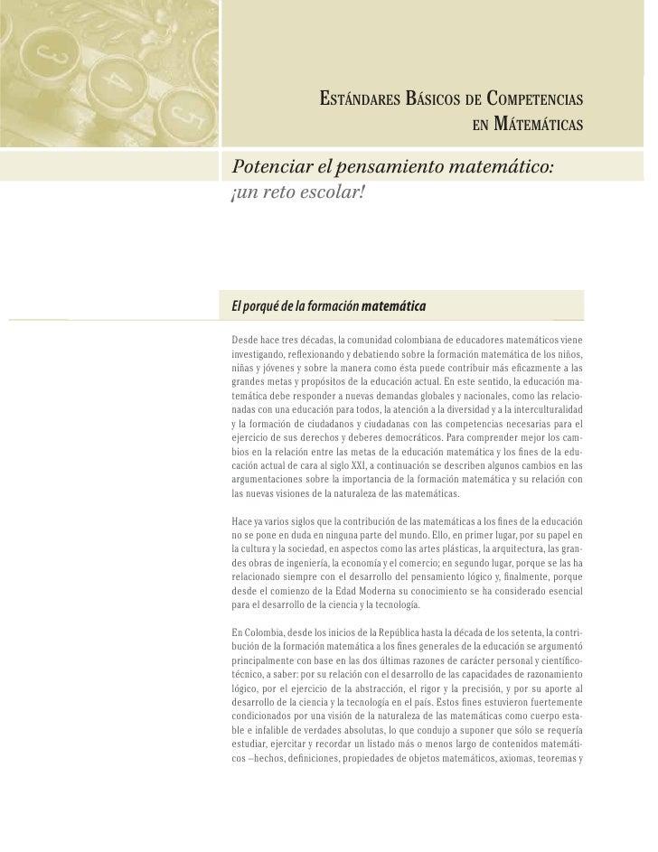 46                         ESTÁNDARES BÁSICOS DE COMPETENCIAS COMPETENCIAS EN MATEMÁTICAS                                 ...