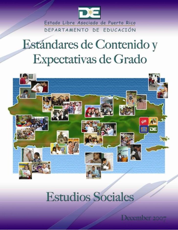 Estándares de Contenido y Expectativas de Grado Estudios Sociales