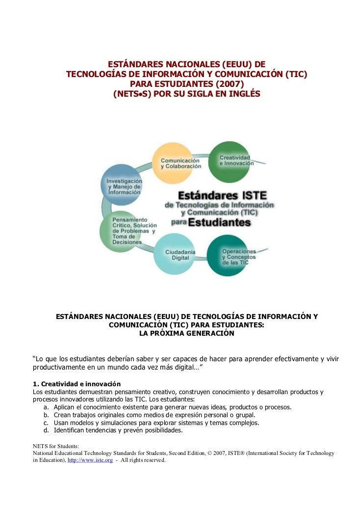 ESTÁNDARES NACIONALES (EEUU) DE             TECNOLOGÍAS DE INFORMACIÓN Y COMUNICACIÓN (TIC)                         PARA E...