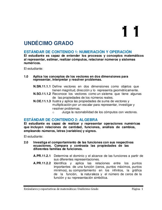 11UNDÉCIMO GRADOESTÁNDAR DE CONTENIDO 1: NUMERACIÓN Y OPERACIÓNEl estudiante es capaz de entender los procesos y conceptos...