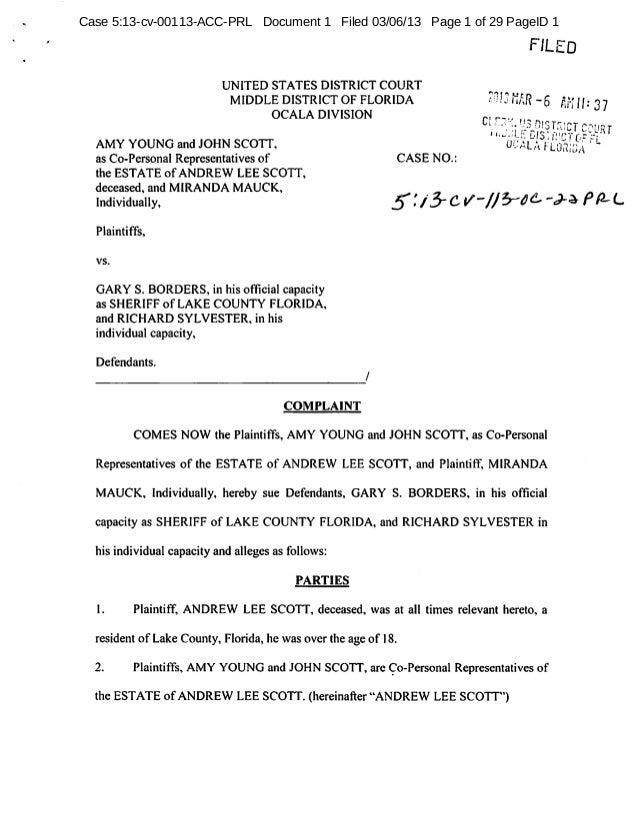 Estate of Andrew Lee Scott vs. Richard Sylvester, et al - Lake County Wrongful Death Lawsuit