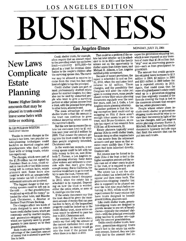 New Laws Complicate Estate Planning