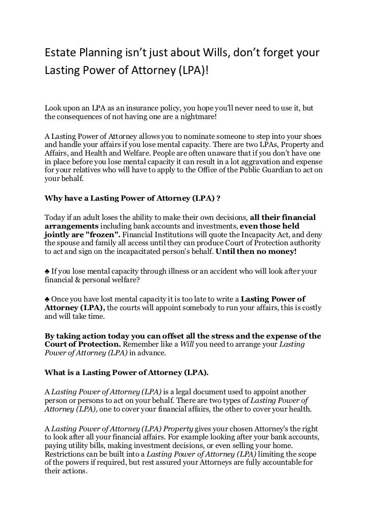 Estate planning isnt just about Wills, dont forget your Lasting Power of Attorney (LPA)!