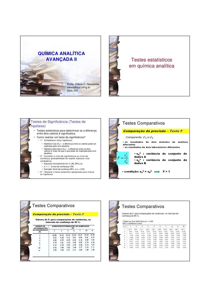 QUÍMICA ANALÍTICA        AVANÇADA II                                                              Testes estatísticos     ...