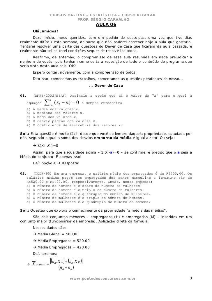 CURSOS ON-LINE – ESTATÍSTICA – CURSO REGULAR                                PROF. SÉRGIO CARVALHO                         ...