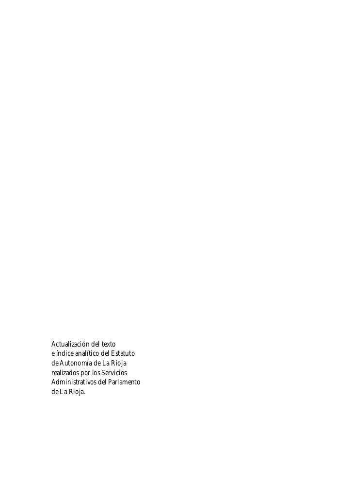 Actualización del texto e índice analítico del Estatuto de Autonomía de La Rioja realizados por los Servicios Administrati...