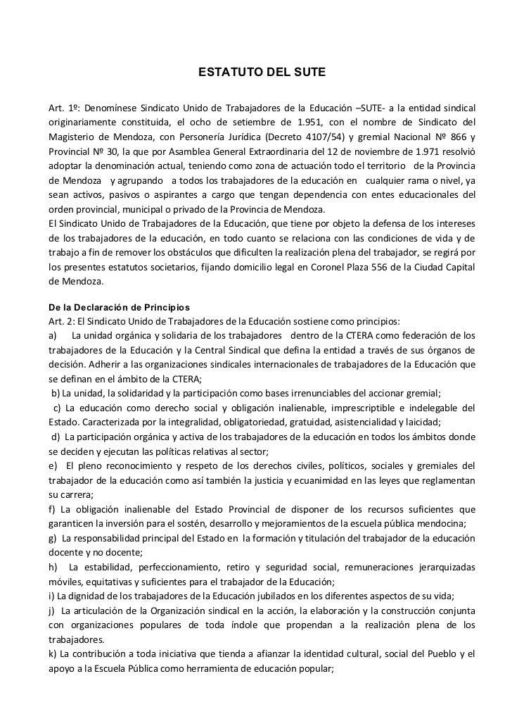 Estatuto SUTE  - Mendoza