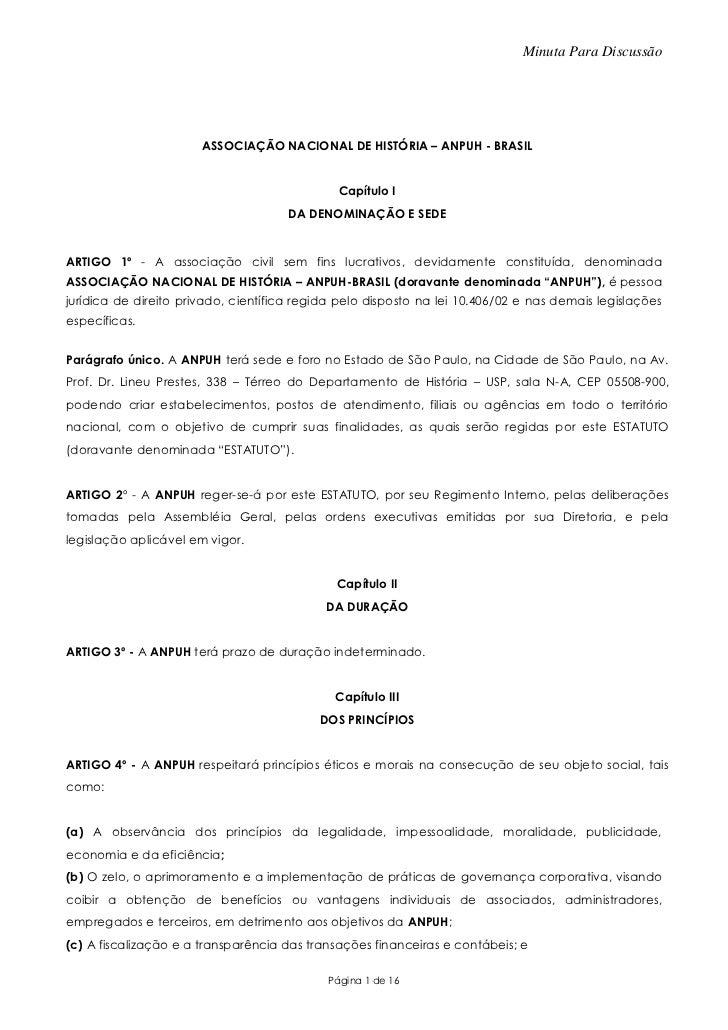 Minuta Para Discussão                       ASSOCIAÇÃO NACIONAL DE HISTÓRIA – ANPUH - BRASIL                              ...