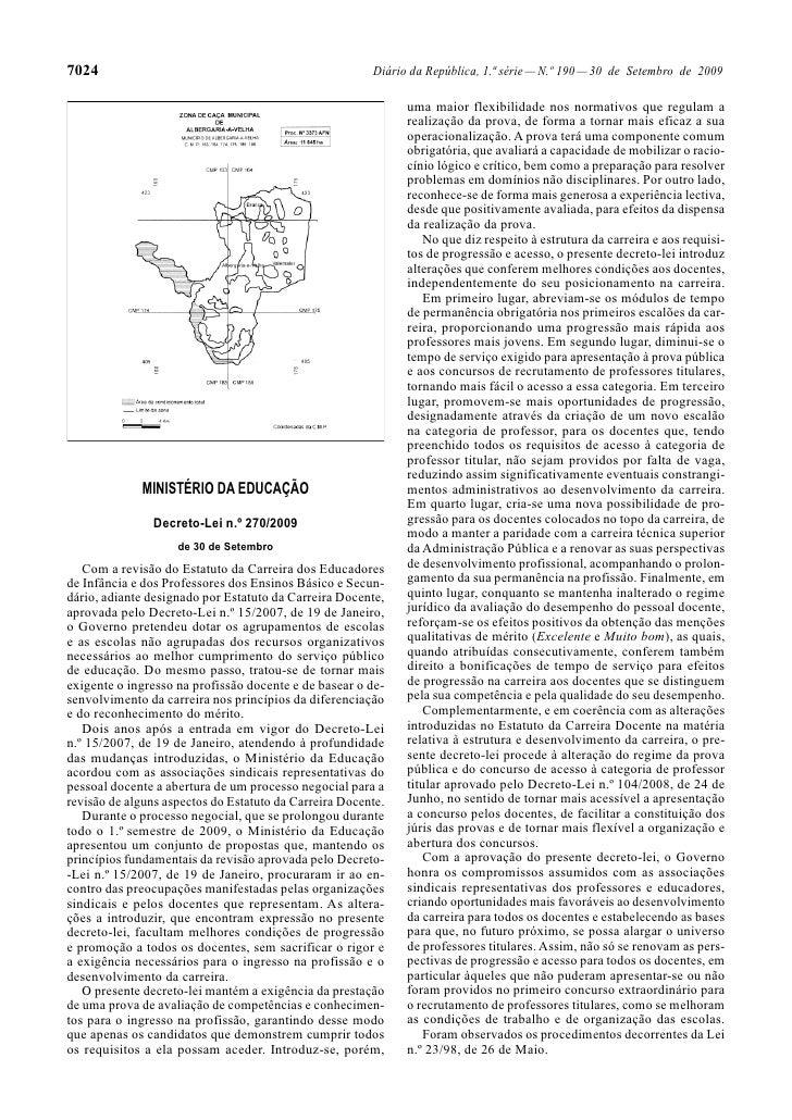 Estatuto Carreira Docente alterações introduzidas a 30/Set/2009