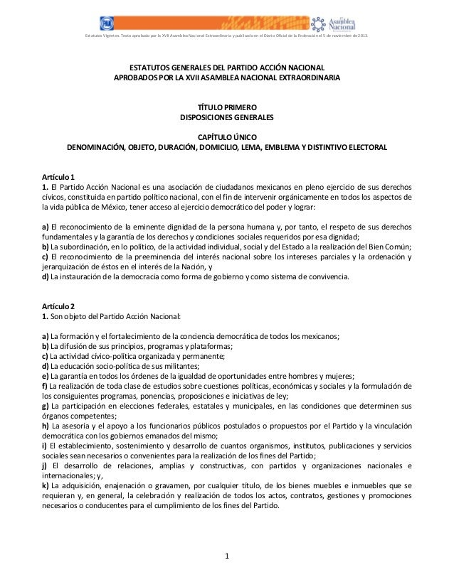 Estatutos Vigentes. Texto aprobado por la XVII Asamblea Nacional Extraordinaria y publicado en el Diario Oficial de la Fed...