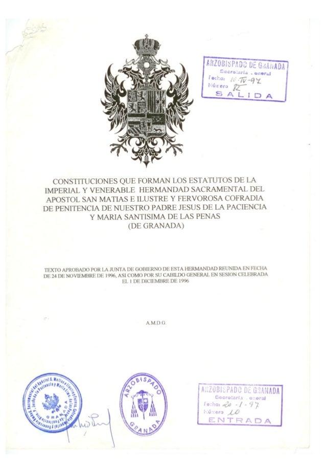 CONSTITUCIONES QUE FORMAN LOS ESTATUTOS DE LA IMPERIAL Y VENERABLE HERMANDAD SACRAMENTAL DEL APOSTOL SAN MATIAS E ILUSTRE ...