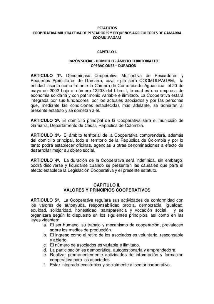 ESTATUTOS COOPERATIVA MIULTIACTIVA DE PESCADORES Y PEQUEÑOS AGRICULTORES DE GAMARRA                                COOMULP...