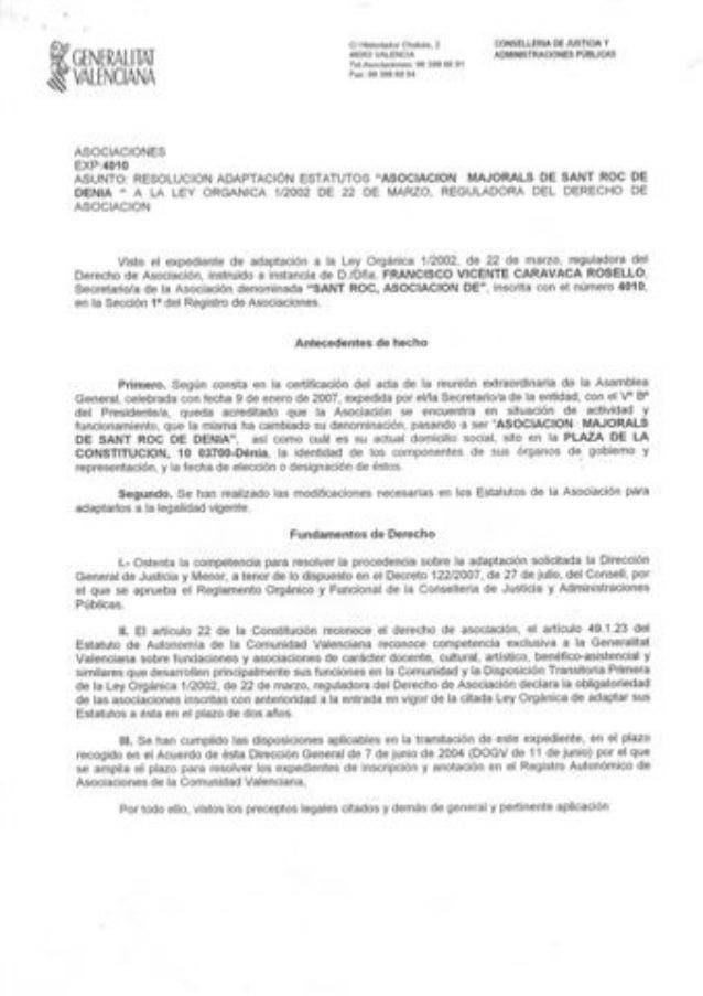 Estatutos Majorals de Sant Roc . Denia -Alicante
