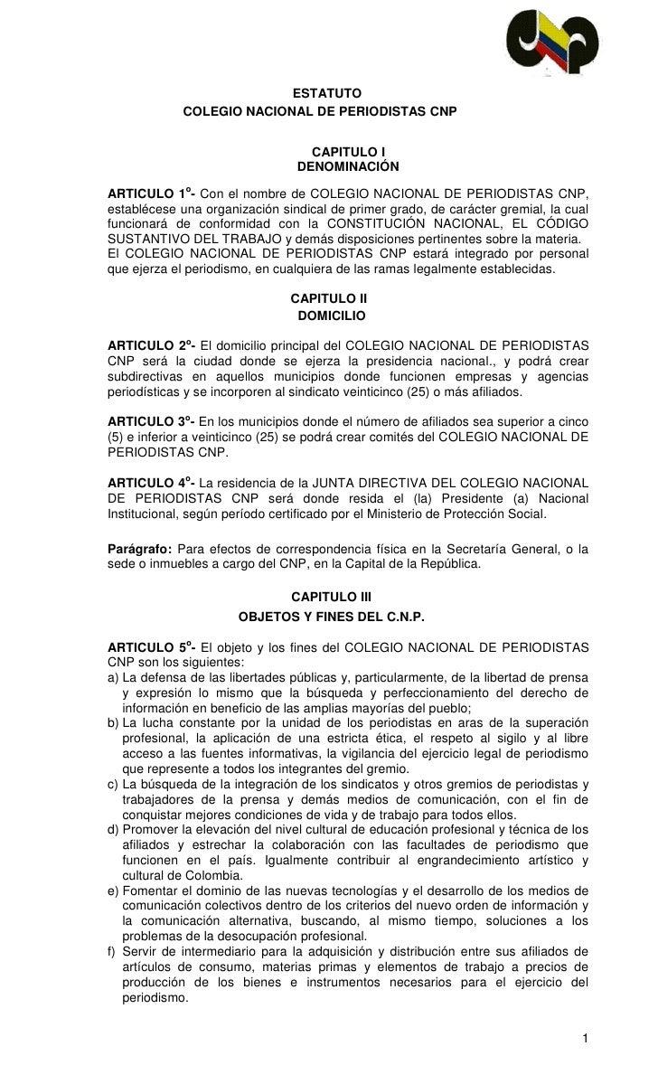Estatutos Colegio Nacional de Periodistas