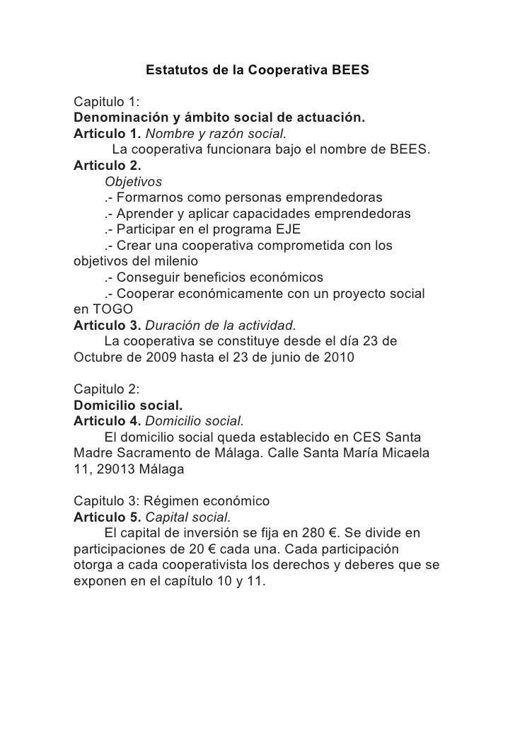 Estatutos de la Cooperativa Beess