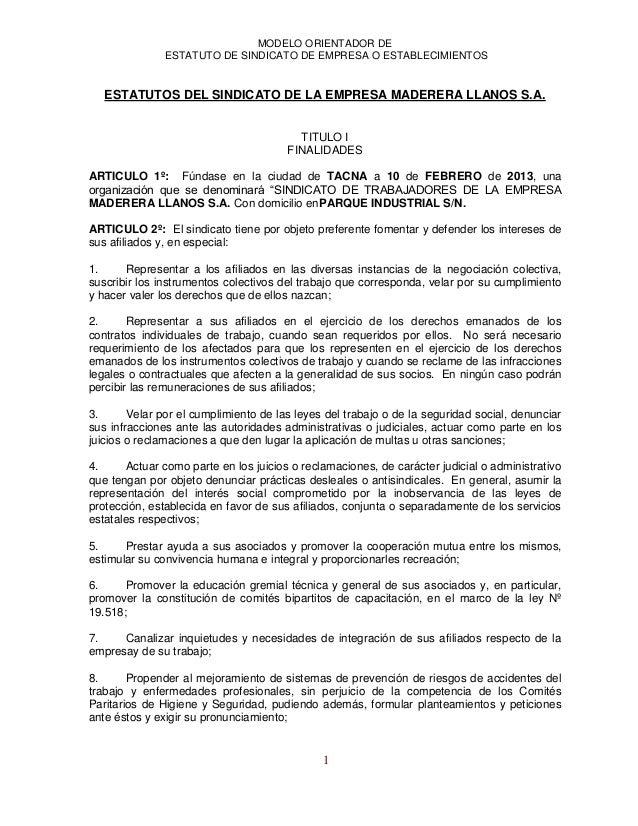 MODELO ORIENTADOR DEESTATUTO DE SINDICATO DE EMPRESA O ESTABLECIMIENTOS1ESTATUTOS DEL SINDICATO DE LA EMPRESA MADERERA LLA...