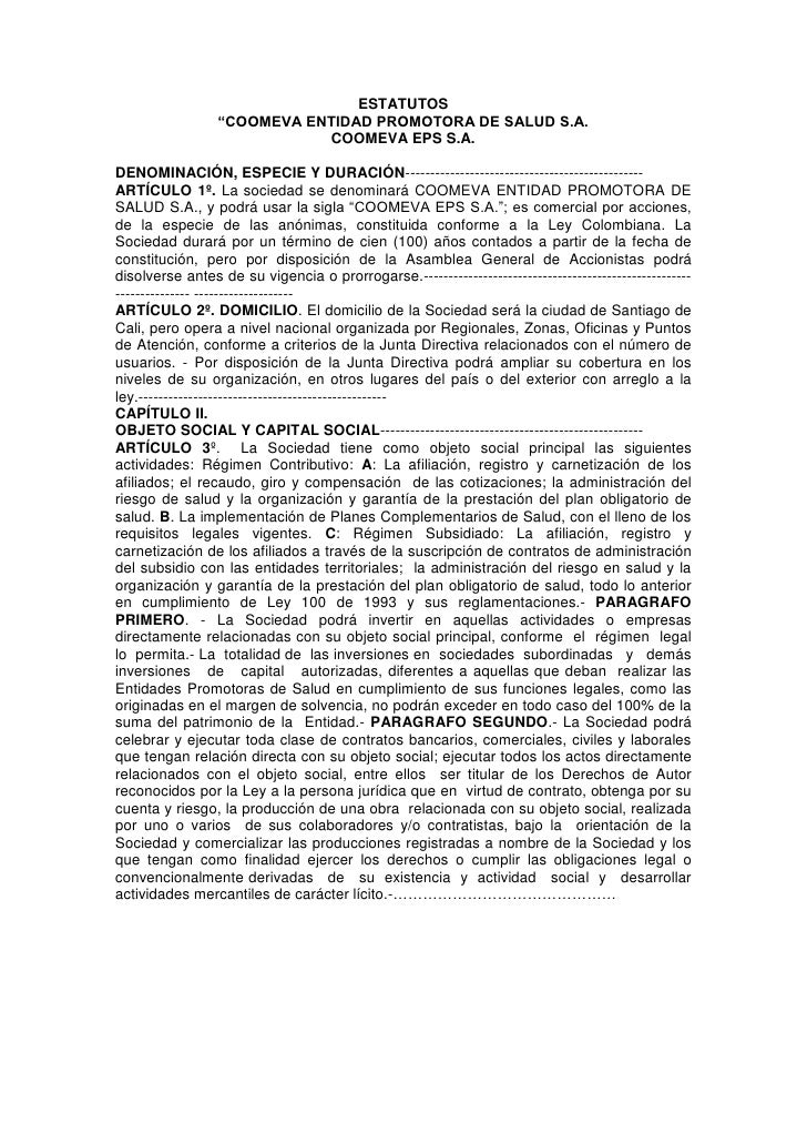 """ESTATUTOS                 """"COOMEVA ENTIDAD PROMOTORA DE SALUD S.A.                            COOMEVA EPS S.A.DENOMINACIÓN..."""