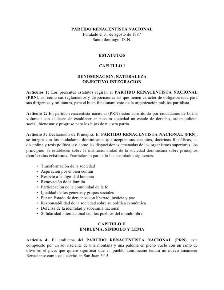 PARTIDO RENACENTISTA NACIONAL                              Fundado el 31 de agosto de 1987                                ...