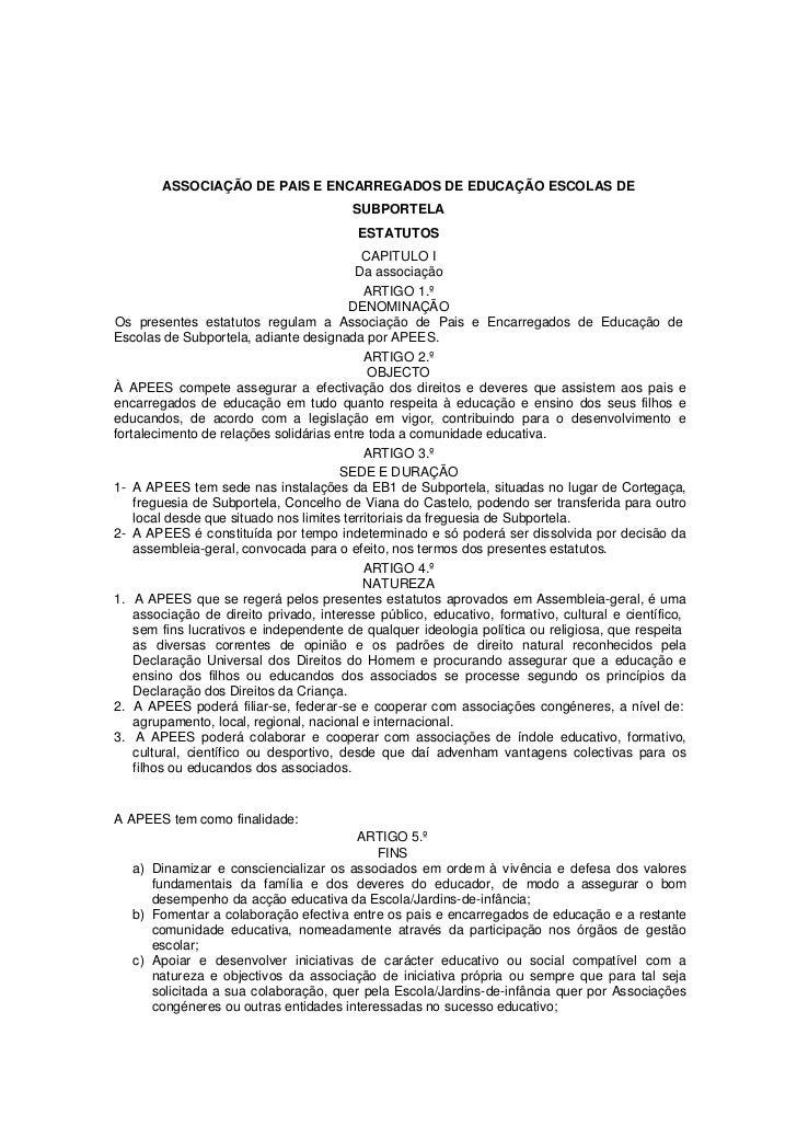 ASSOCIAÇÃO DE PAIS E ENCARREGADOS DE EDUCAÇÃO ESCOLAS DE                                        SUBPORTELA                ...
