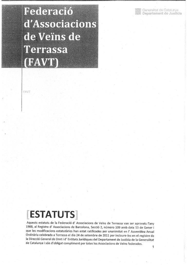 Estatuts de la FAVT aprovats generalitat juny 2012