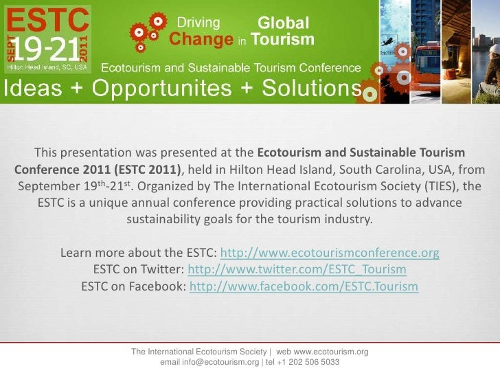 ESTC 2011 Presentation by Hunter McIntosh, The Boat Company, Conservation Cruise Tourism Industry