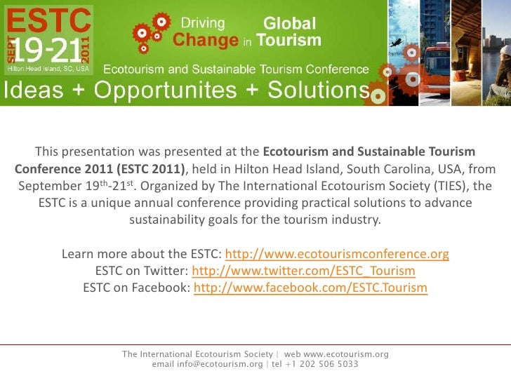 ESTC 2011 Presentation by Megan Epler Wood, Planeterra, Destination Management Tools