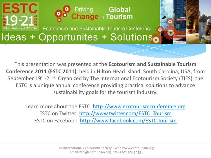 ESTC 2011 Presentation by Trish Manning, The Ontario Ecotourism Society, Financing Sustainability Initiatives