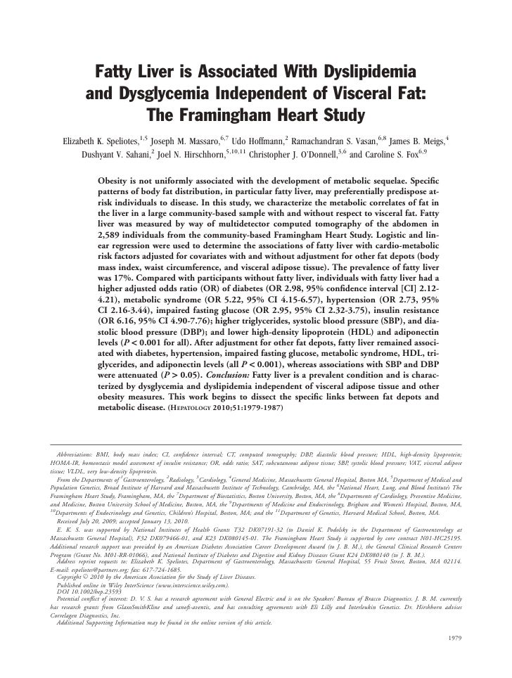 Fatty Liver is Associated With Dyslipidemia               and Dysglycemia Independent of Visceral Fat:                    ...