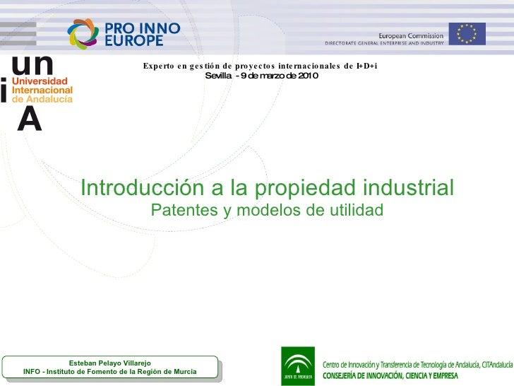 Introducción a la propiedad industrial Patentes y modelos de utilidad Experto en gestión de proyectos internacionales de I...