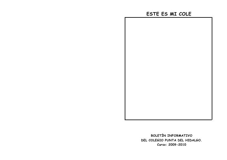 ESTE ES MI COLE          BOLETÍN INFORMATIVO DEL COLEGIO PUNTA DEL HIDALGO.         Curso: 2009-2010