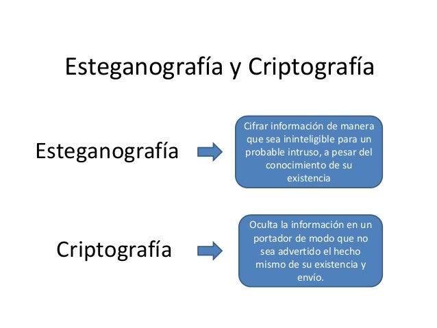 Esteganografía y Criptografía Esteganografía  Criptografía  Cifrar información de manera que sea ininteligible para un pro...