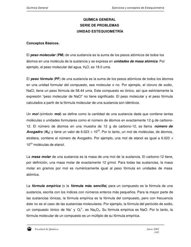Química General                                          Ejercicios y conceptos de Estequiometría                         ...