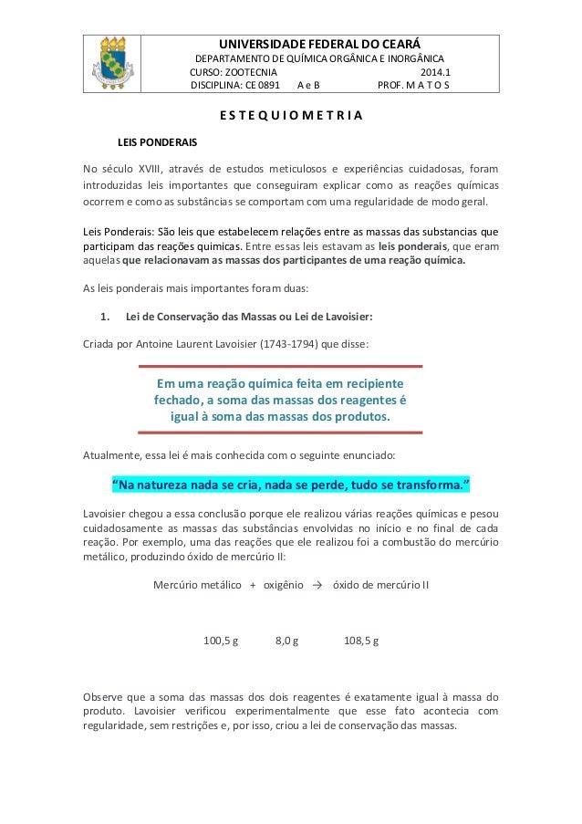 UNIVERSIDADE FEDERAL DO CEARÁ DEPARTAMENTO DE QUÍMICA ORGÂNICA E INORGÂNICA CURSO: ZOOTECNIA 2014.1 DISCIPLINA: CE 0891 A ...