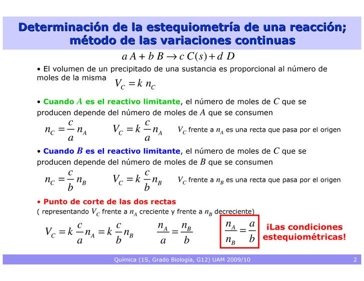 Determinación de la estequiometría de una reacción;        método de las variaciones continuas                a A + b B → ...
