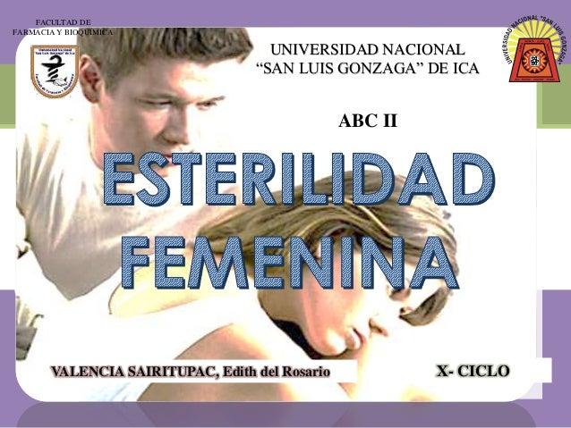 """UNIVERSIDAD NACIONAL """"SAN LUIS GONZAGA"""" DE ICA X- CICLO ABC II FACULTAD DE FARMACIA Y BIOQUÍMICA VALENCIA SAIRITUPAC, Edit..."""