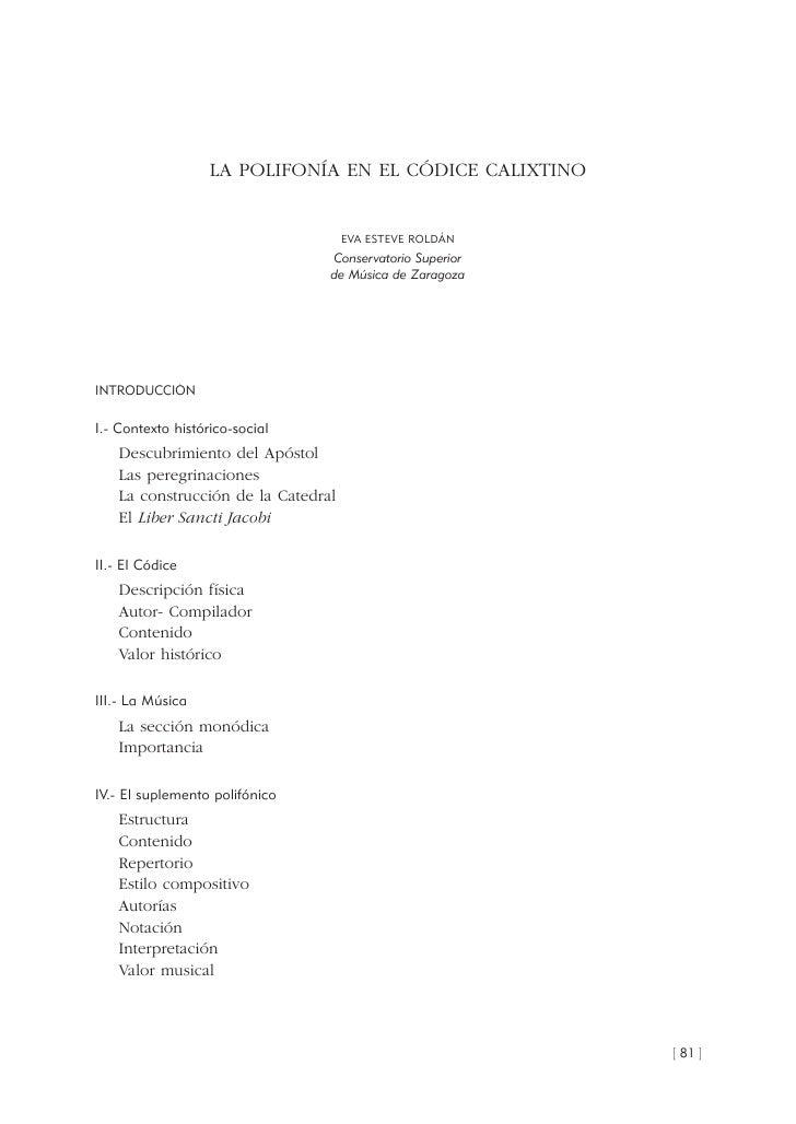 LA POLIFONÍA EN EL CÓDICE CALIXTINO                                       EVA ESTEVE ROLDÁN                               ...