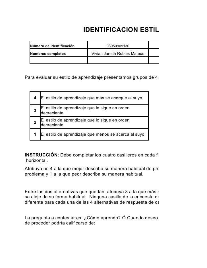 IDENTIFICACION ESTILOS DE APREND    Número de identificación                93050909130           Programa de formación   ...