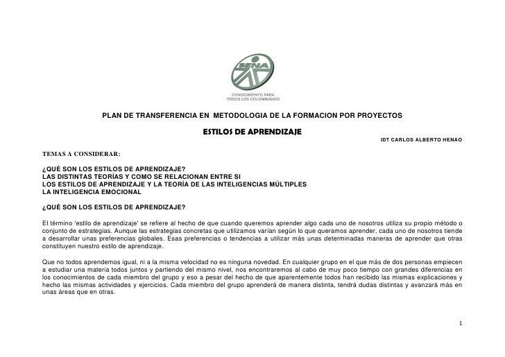 PLAN DE TRANSFERENCIA EN METODOLOGIA DE LA FORMACION POR PROYECTOS                                                       E...