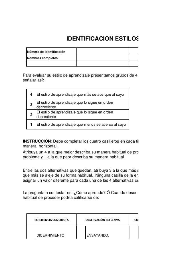 IDENTIFICACION ESTILOS DE APRENDIZA    Número de identificación                                              Programa de f...
