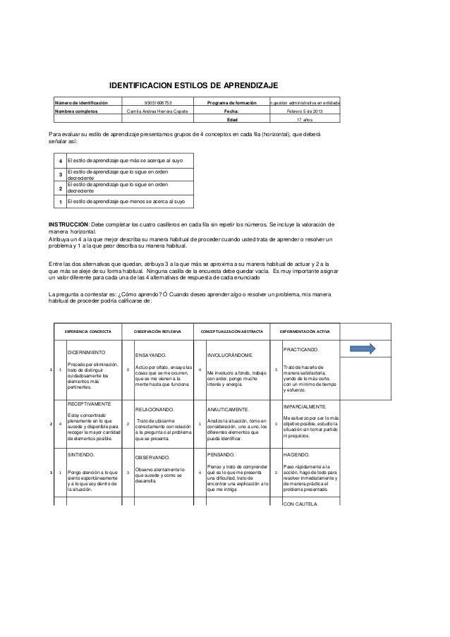 IDENTIFICACION ESTILOS DE APRENDIZAJE    Número de identificación                  95051606753                    Programa...