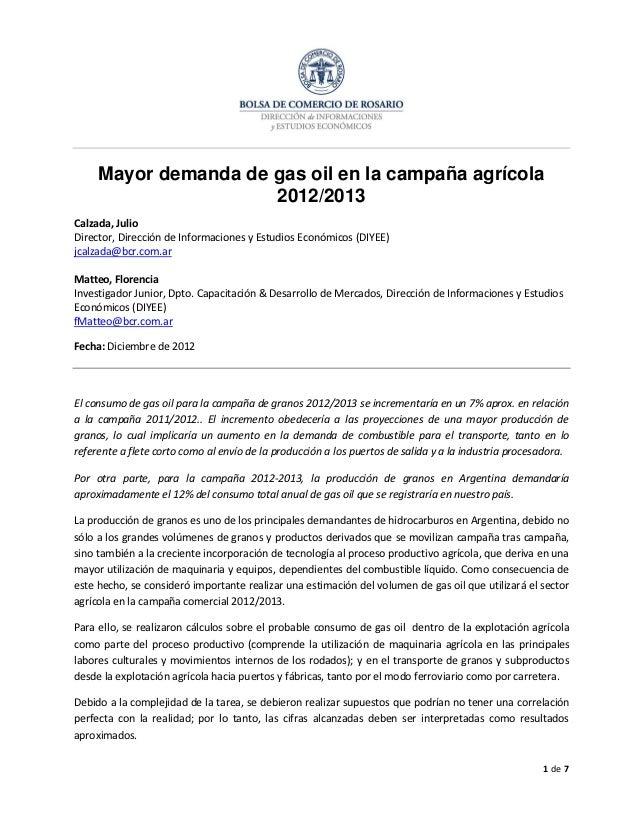 Estimación de consumo de gas oil en campaña agrícola 2012 2013 por producción y transporte de granos
