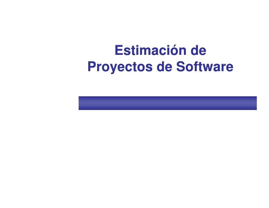 Estimación deProyectos de Software