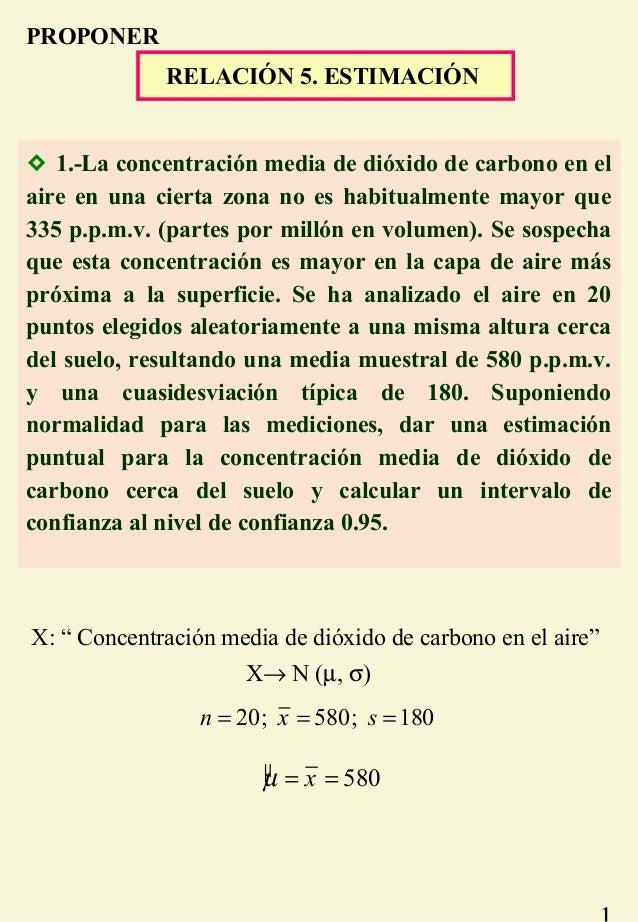 RELACIÓN 5. ESTIMACIÓN  1.-La concentración media de dióxido de carbono en el aire en una cierta zona no es habitualmente...