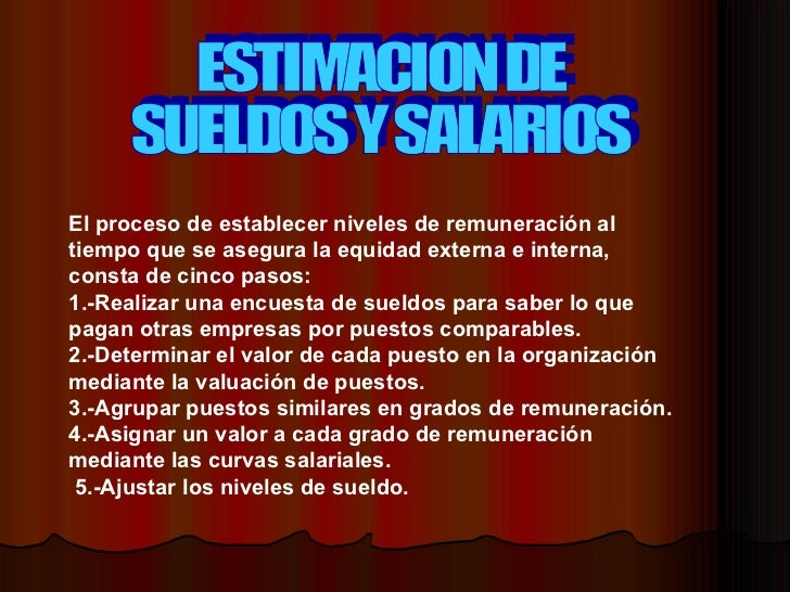 Estimacion De Sueldos Y Salarios
